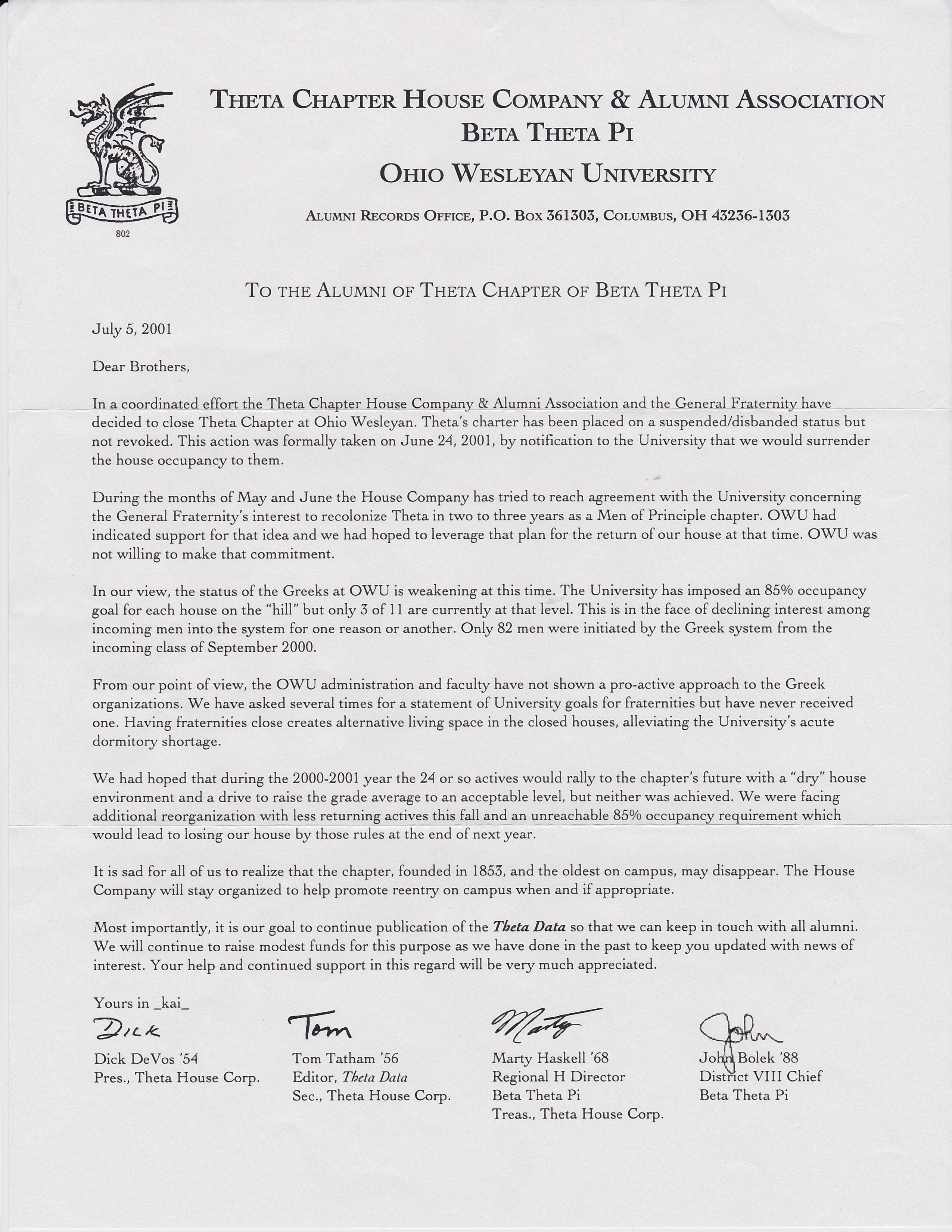 Chapter Closing House Corp Letter 2001 Chapter Closing House Corp Letter How  To